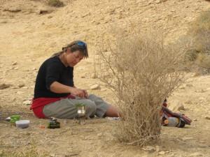 דנה מאיר מכינה תה במדבר